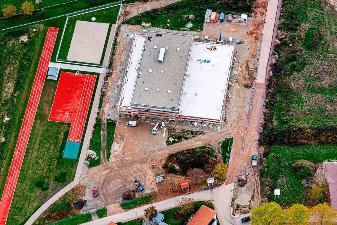 Die Baustelle der neuen Rheingießenhalle im November 2019  | Foto: Martin Bildstein