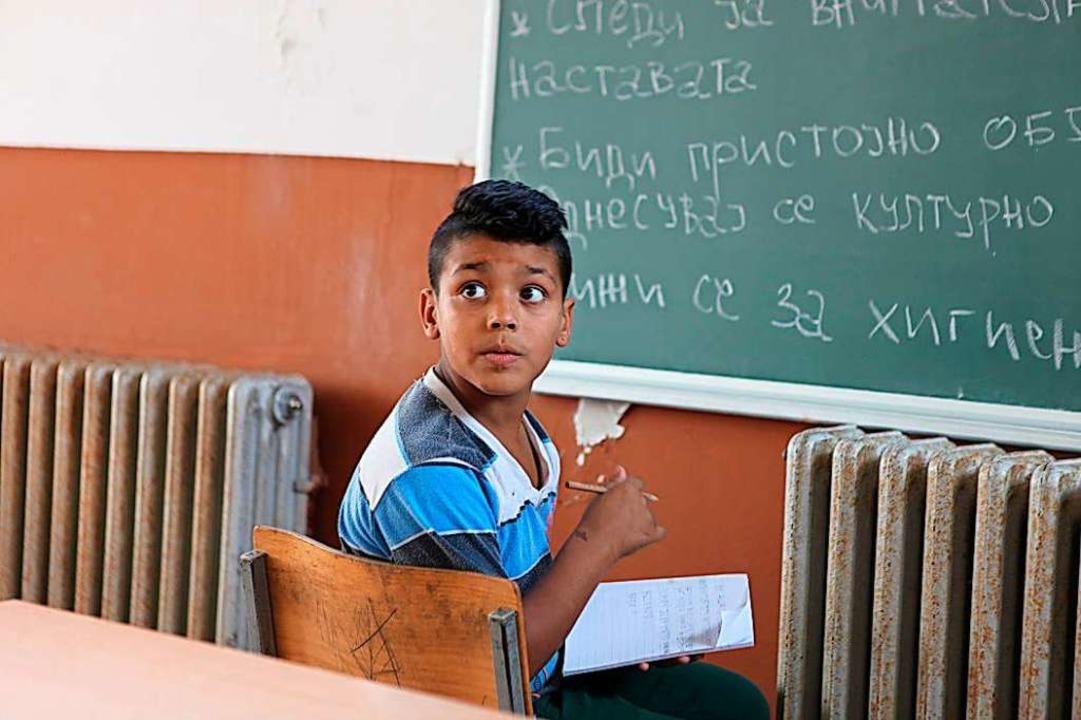 Ein Junge in der Schule in Skopje.  | Foto: Verein