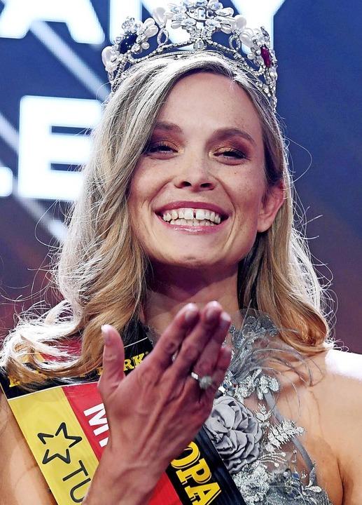 Nadine Berneis nach ihrer Wahl zur Miss Germany im Februar 2019  | Foto: Uli Deck
