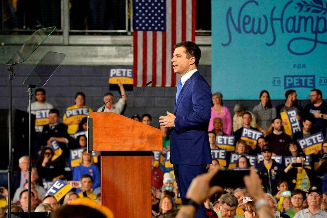 Pete Buttigieg wurde bei der Vorwahl in New Hampshire Zweiter.  | Foto: JOSEPH PREZIOSO (AFP)