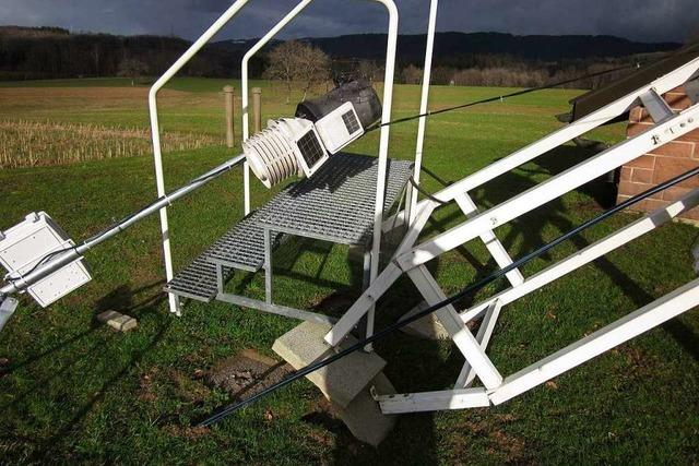 Sturmböe beschädigt Wetterstation in Schwörstadt