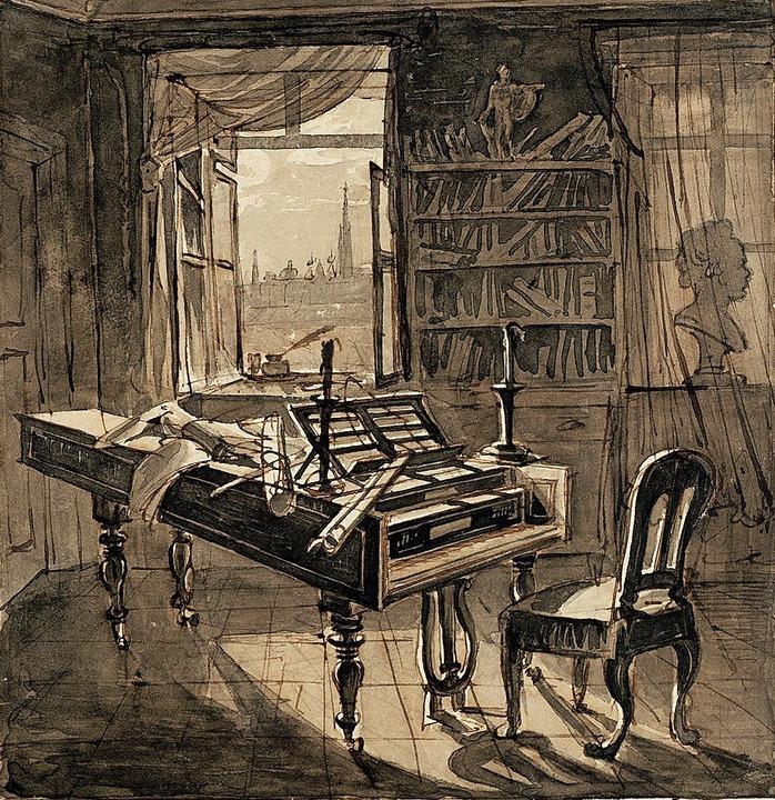 Beethovens Arbeitszimmer, wie es Johann Nepomuk Hoechle 1827 darstellte  | Foto: Wien Museum