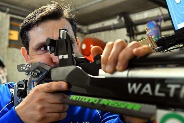 Der Ringsheimer Luftgewehrschütze Antonio Massari hat eine eigene Schießanlage im Keller
