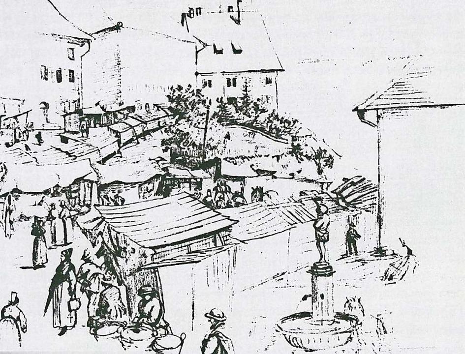 Die  Skizze von Felix Faller, die den ...m 1850 zeigt, damals noch ohne Kanzel.  | Foto: Archiv Roland Weis