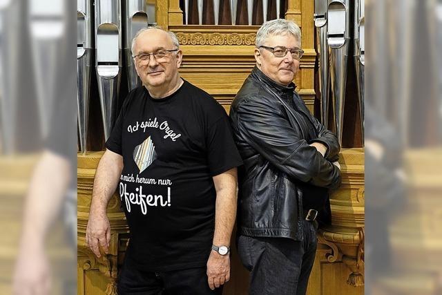 Kabarettist Rudolf Habringer und Linzer Domorganist Wolfgang Kreuzhube in St. Peter,