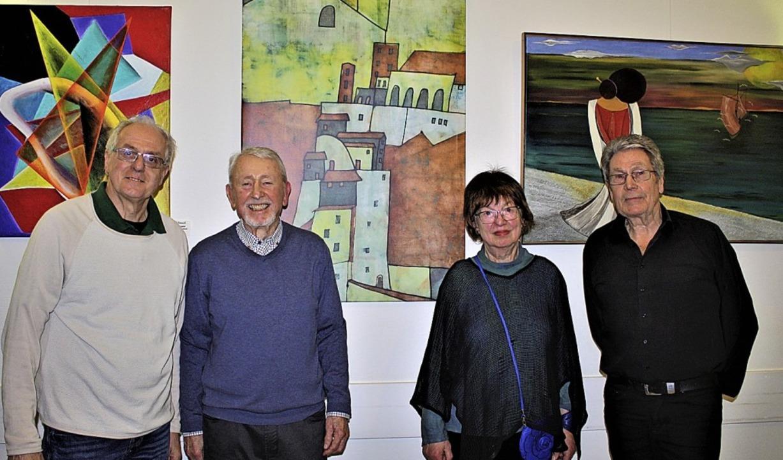 Die Künstler Rudi Bienroth, Witha Heus...hard Walter eröffnete die Ausstellung.  | Foto: Laetitia Barnick