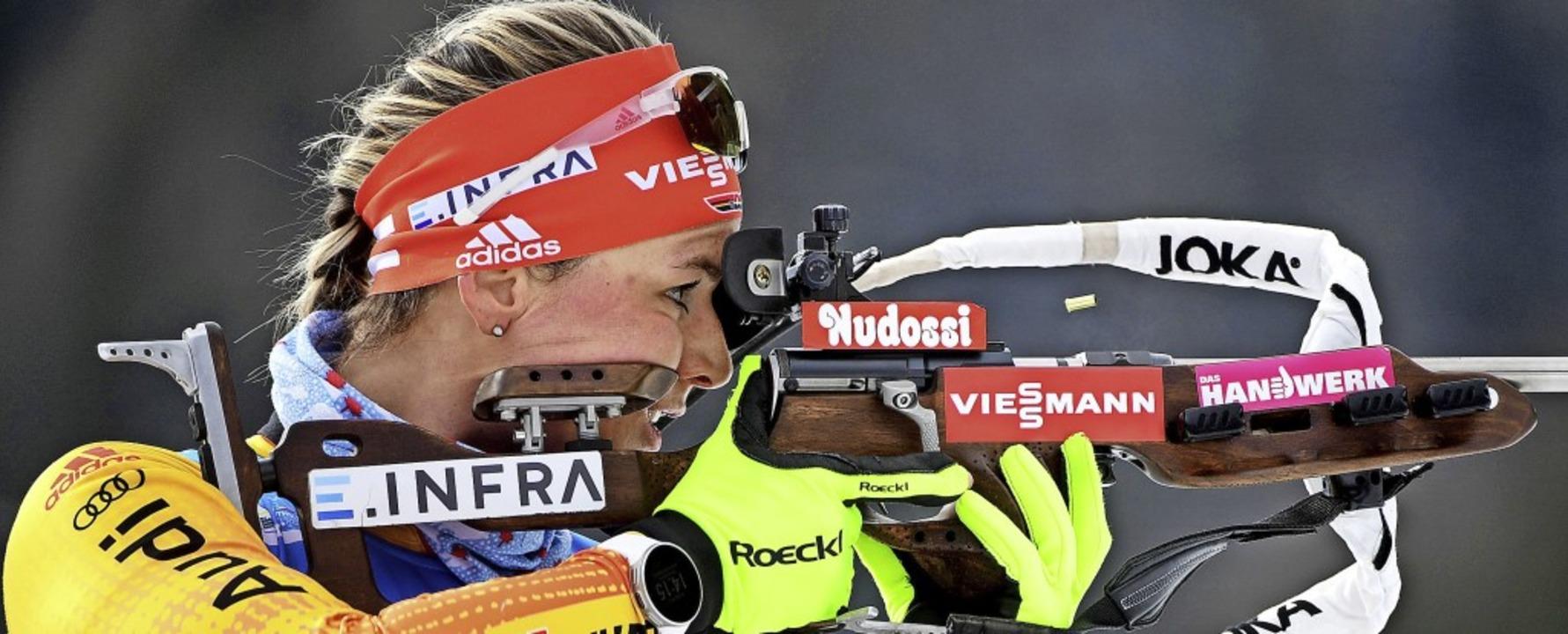 Drei Fehler beim Schießen waren für De...el, um auf das Siegerpodest zu kommen.  | Foto: Hendrik Schmidt (dpa)