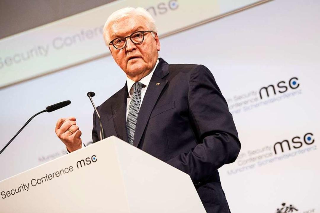 Bundespräsident Frank-Walter Steinmeie... auf der Münchner Sicherheitskonferenz  | Foto: Guido Bergmann (dpa)