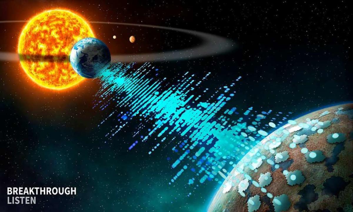 Eine grafische Darstellung zeigt als m...Hinten links im Bild ist unsere Sonne.  | Foto: - (dpa)