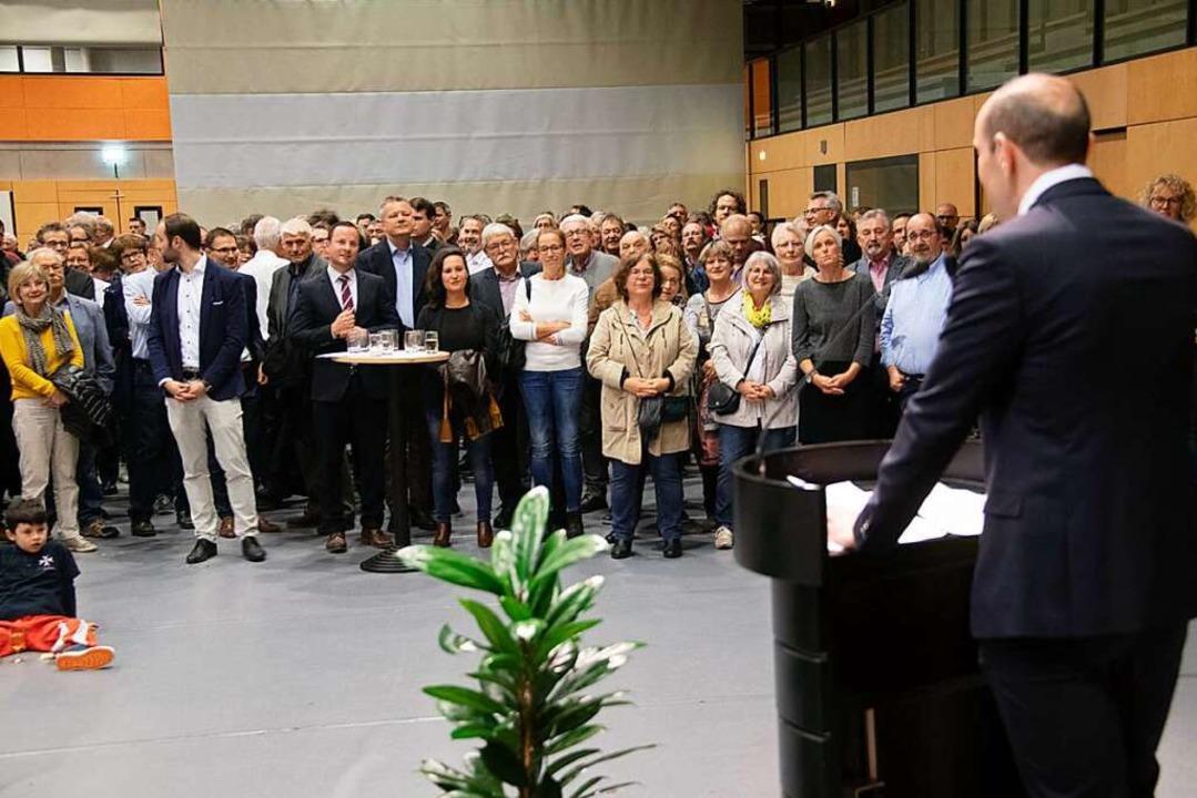 Kurz und knapp, dafür sehr herzlich fiel Christoph Zachows erste Rede  aus.  | Foto: Volker Münch