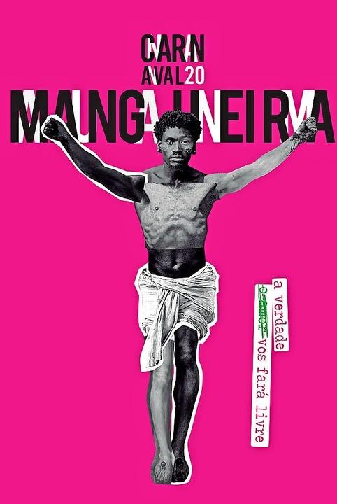Auf dem Plakat der Sambaschule Mangueira ist Jesus schwarz.    Foto: G.R.E.S Estação Primeira de Mangueira
