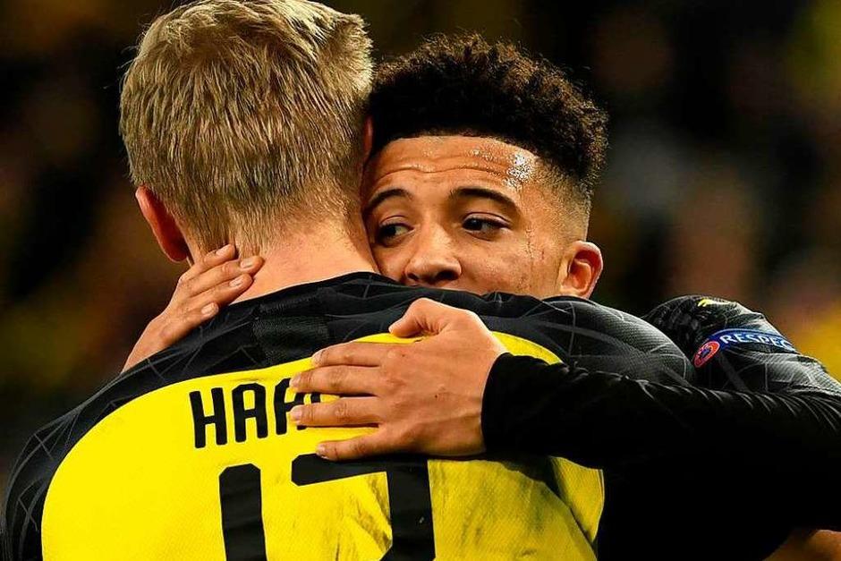 Haaland und Sancho in Glückseligkeit vereint. (Foto: INA FASSBENDER (AFP))