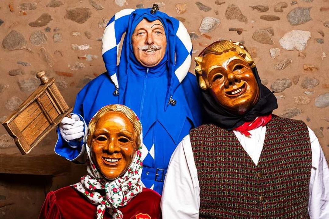 Schelm, Schnurrewieb und Mittwocher si...tsfiguren der Staufener Schelmenzunft.    Foto: Philipp von Ditfurth