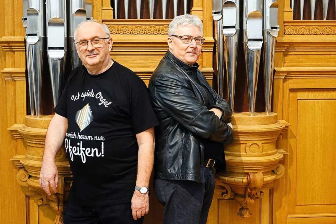 Der Kabarettist Rudolf Habringer und der Linzer Domorganist Wolfgang Kreuzhuber  | Foto: Stefanie Petelin