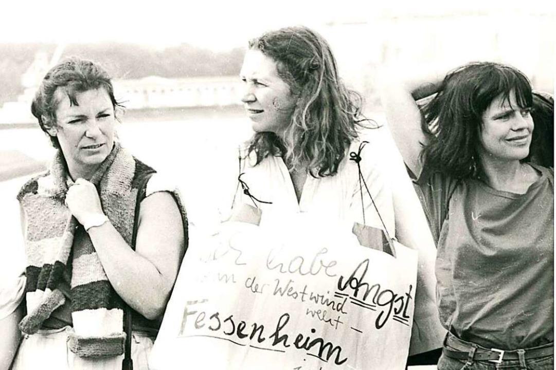 Angst vor der radioaktiven Wolke aus d...enheim-Demonstration 1986 in Breisach.  | Foto: Albert Josef Schmidt