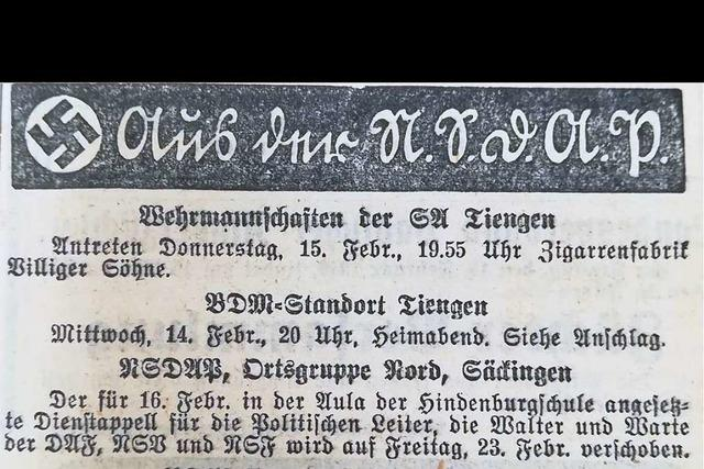 Im Februar 1940 fiel die Fasnacht in Säckingen aus