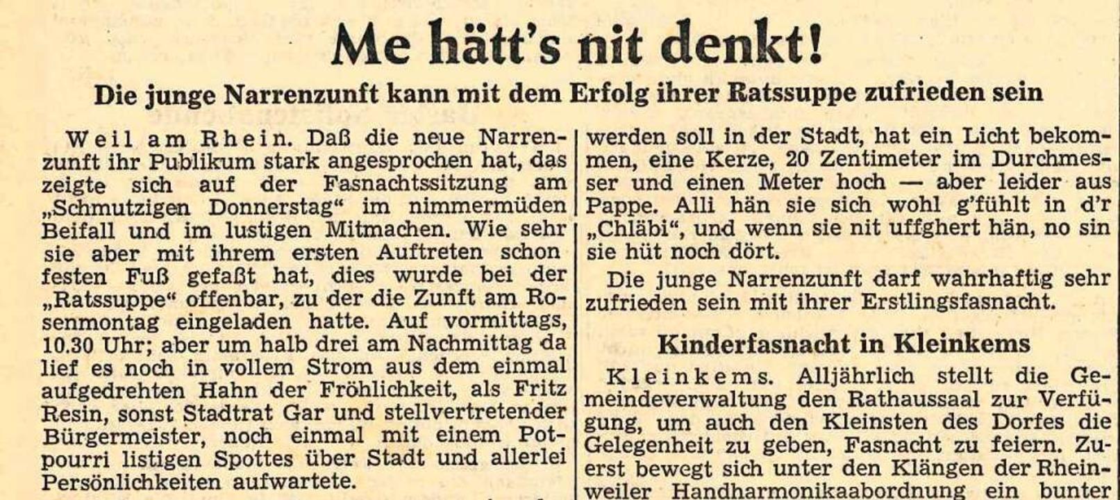 So begann der Bericht über die erste Ratssuppe in der BZ von 1959.    Foto: Hannes Lauber