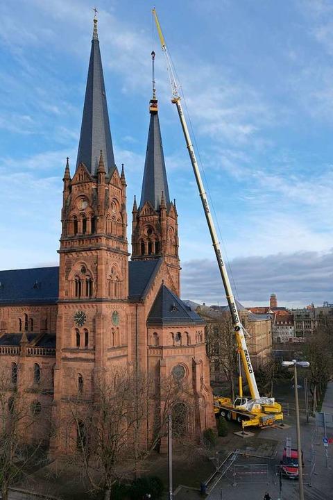 Sicherheitscheck an der Johanneskirche    Foto: Rochus Uttenweiler