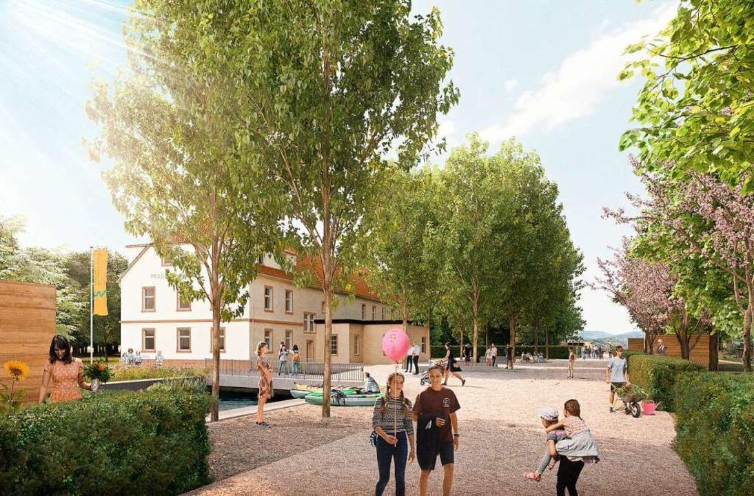So könnte das Areal beim Pfadfinderhei... Landesgartenschau aufgewertet werden.  | Foto: Filon Architekturvisualisierung & Bildbastelei