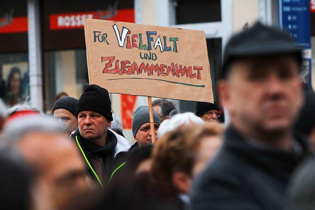 Einige Teilnehmer hatten Schilder mitgebracht.  | Foto: Patrik Müller