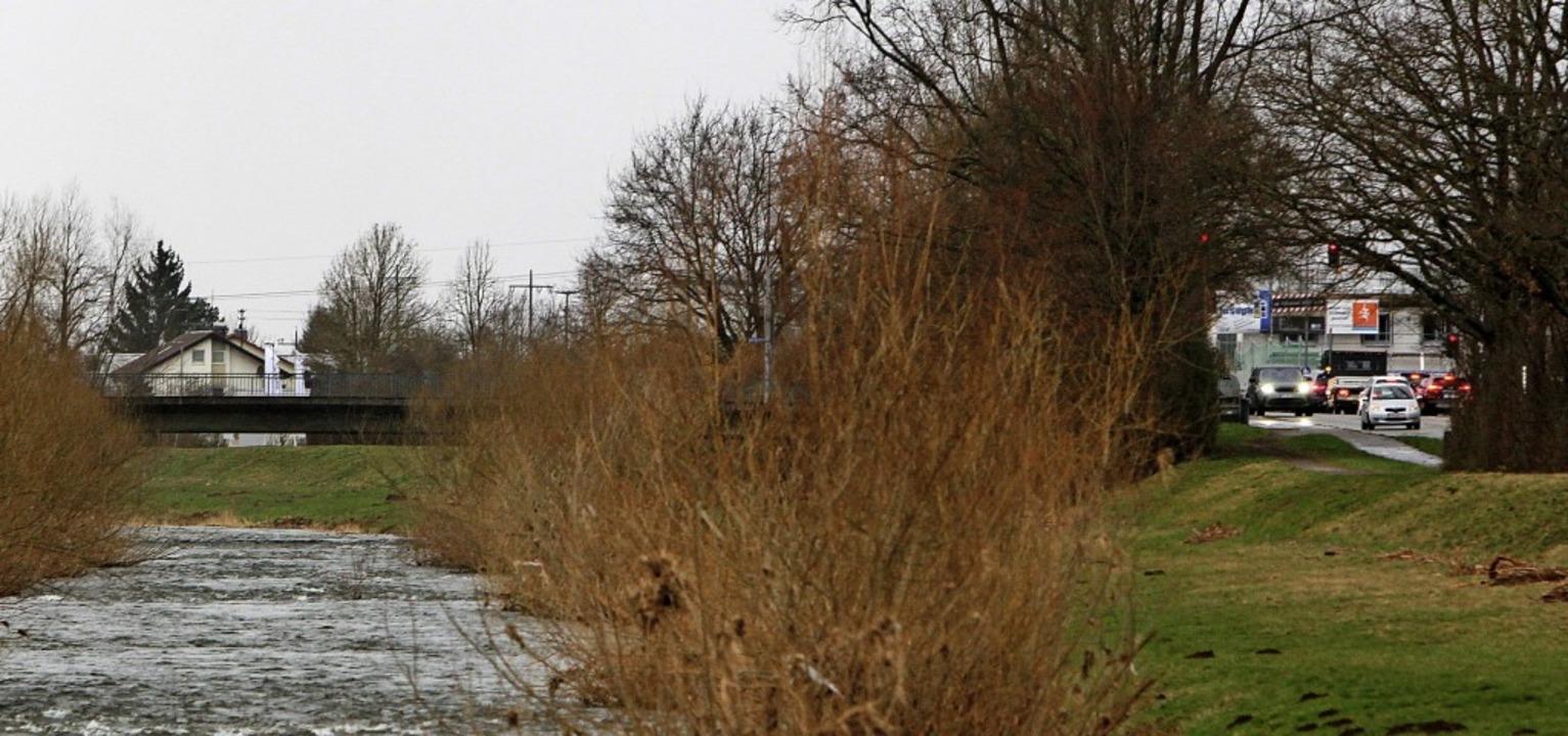 Der Elzdamm rund um die Newarkbrücke (... saniert werden: Ihm fehlt Stabilität.  | Foto: Patrik Müller