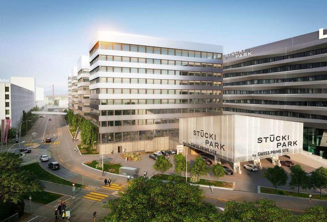 So wird sich der Stücki Park von 2023 ...en Teil des früheren Einkaufszentrums.  | Foto: Mladen Tomic