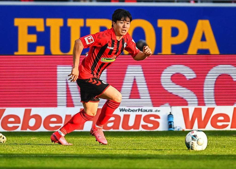 Changhoon Kwon erlitt im Heimspiel gegen Düsseldorf (0:2) einen Muskelfaserriss.  | Foto: Patrick Seeger (dpa)