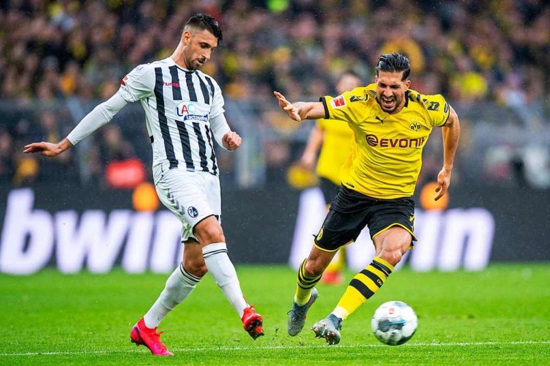 Vincenzo Grifo zeigte gegen Dortmund e...r Freistoß helfen nicht gegen den BVB.    Foto: David Inderlied (dpa)