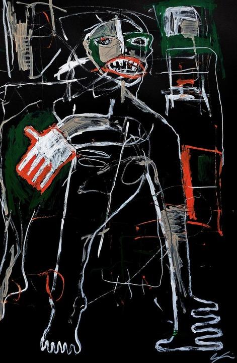 Oliver Jauslins Homo Sapiens IV von  2019 erinnert an Basquiat.  | Foto: Annette Mahro