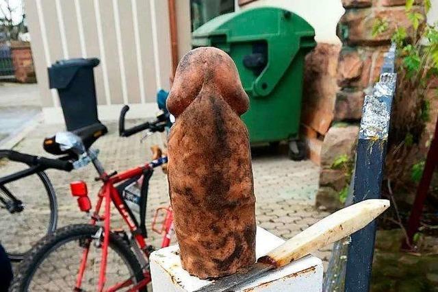 Diesen Silikon-Penis hat ein privater Müllsammler bei Nonnenweier gefunden