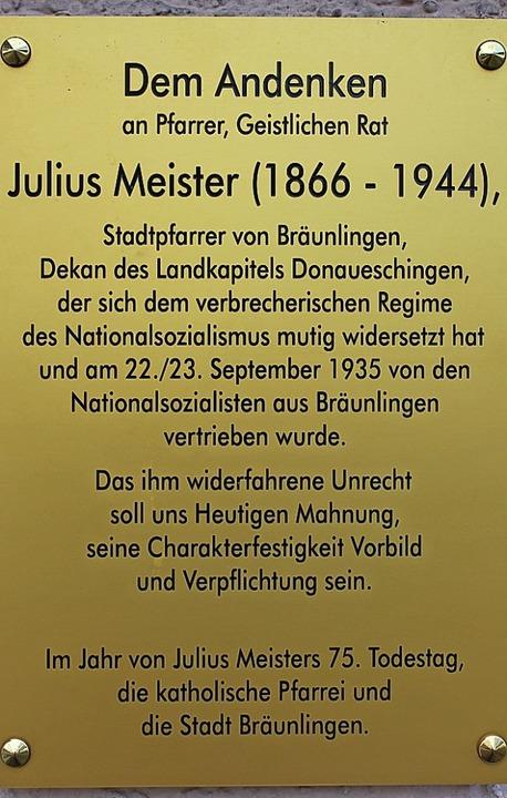 Gedenktafel für Julius Meister    Foto: Christa Maier
