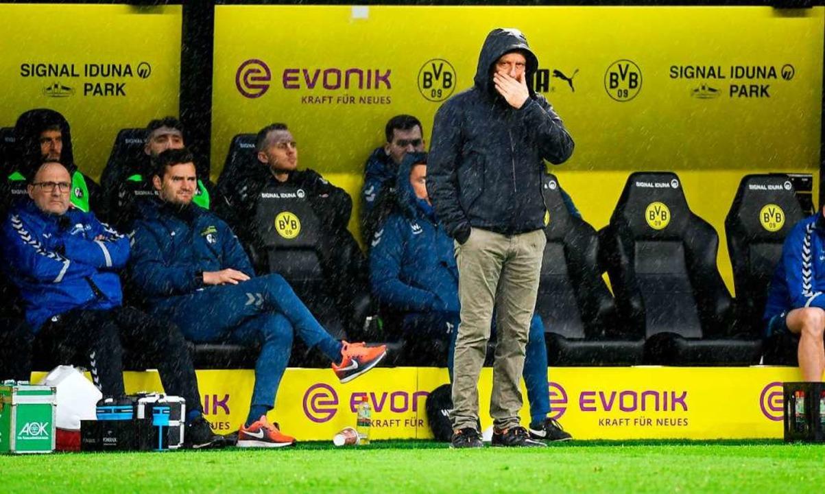 Die Äußerungen von SC-Trainer Christia...rgten in Fankreisen für Irritationen.   | Foto: INA FASSBENDER (AFP)