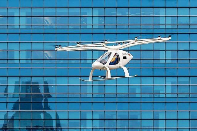 Die ersten Test mit Flugtaxis sind auf dem Flugplatz gemacht worden