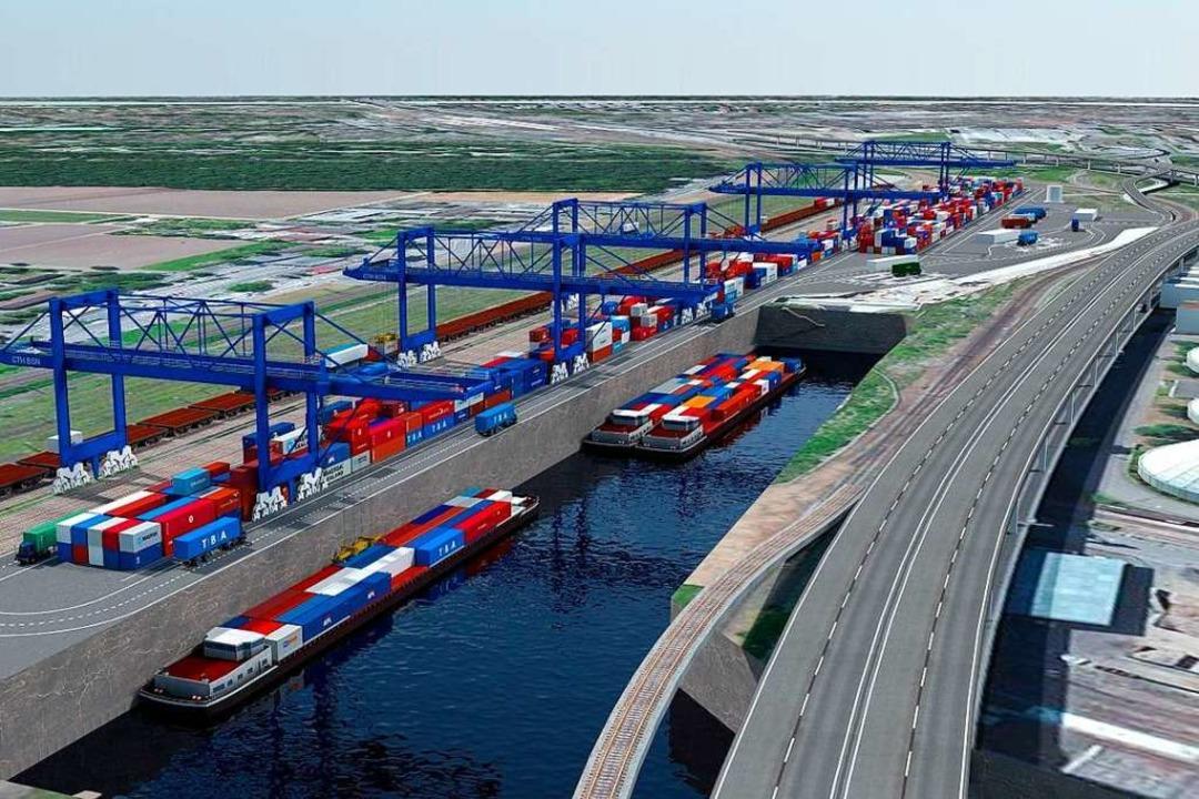 So soll das Containerterminal  einmal ...hts) öffnet sich das neue Hafenbecken.  | Foto: ZVG