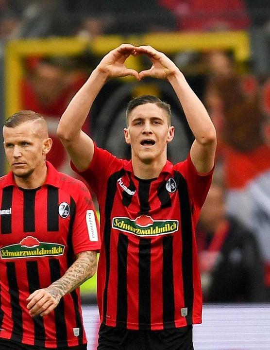 Roland Sallai erzielte das 1:0 gegen Union Berlin.  | Foto: Patrick Seeger (dpa)