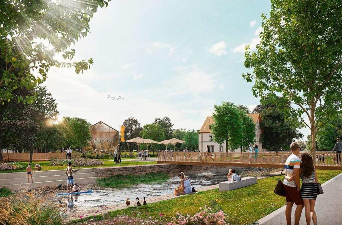 So könnte der Mühlbach im Bereich von ...d Familienzentrum Stegermatt aussehen.  | Foto: Stadt Offenburg