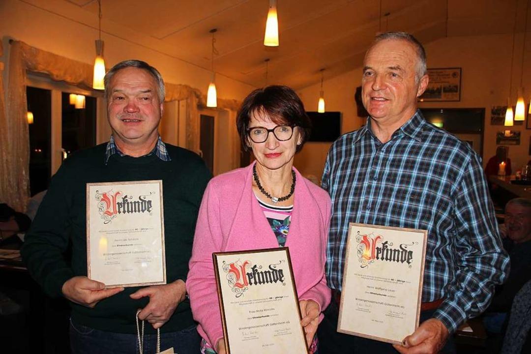 Leo Schätzle (links), Anita Hinrichs und Wolfgang Lauer wurden  ausgezeichnet.  | Foto: Mario Schöneberg