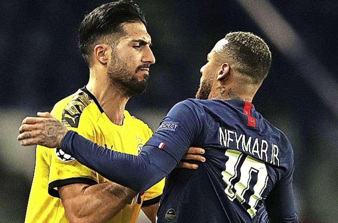 Emre Can (links) geht Neymar an die Wäsche.   | Foto:  (AFP)