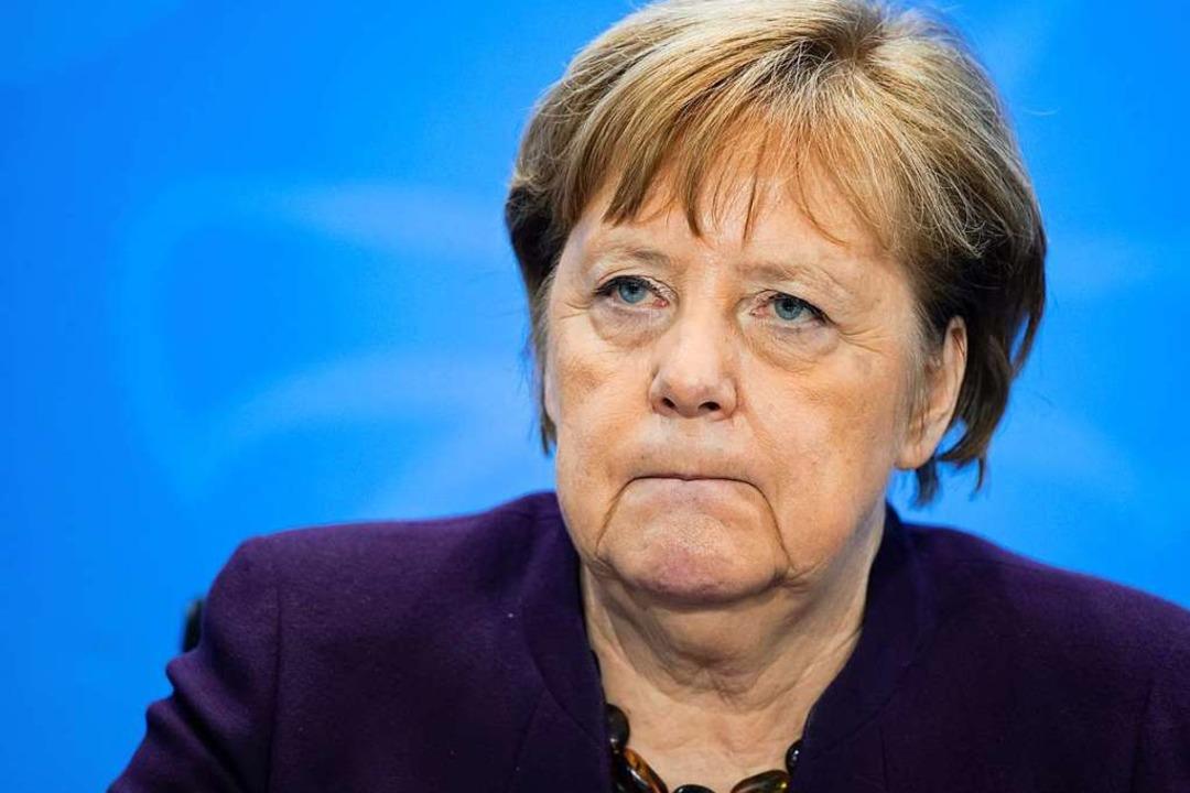 Angela Merkel bei der Pressekonferenz    Foto: Bernd von Jutrczenka (dpa)