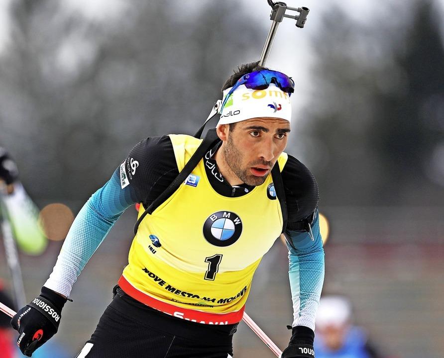 Das Gelbe Trikot war für den Weltcup-S...eger die zweite Haut: Martin Fourcade.  | Foto: Petr David Josek (dpa)