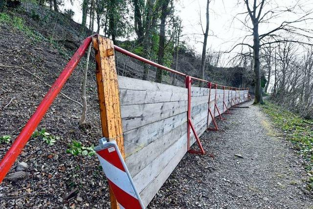 Stadt muss Weg am Schlossberg wegen herabfallenden Steinen lösen