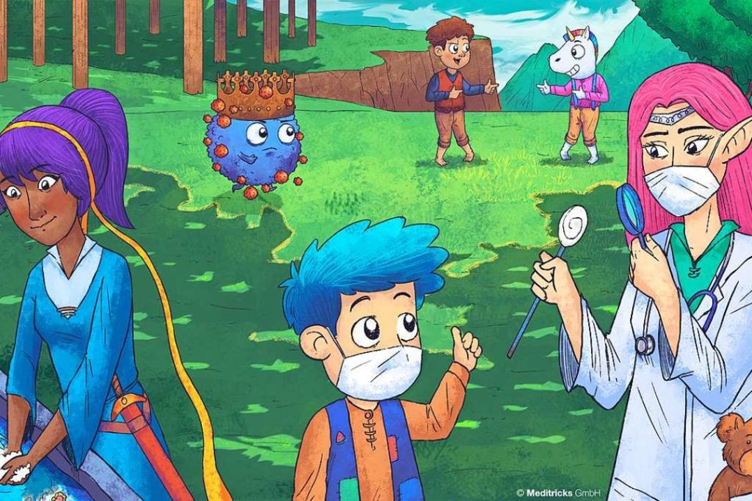 Das Kronenvirus in Blau im Hintergrund: Das Erklärvideo von Meditricks  | Foto: Meditricks