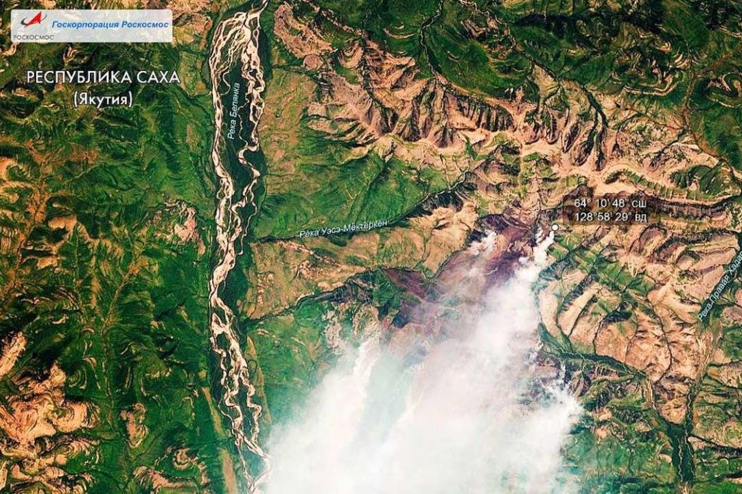 Ein Satellitenbild zeigt die Brände in der sibirischen Taiga im Sommer 2019.    Foto: --- (dpa)