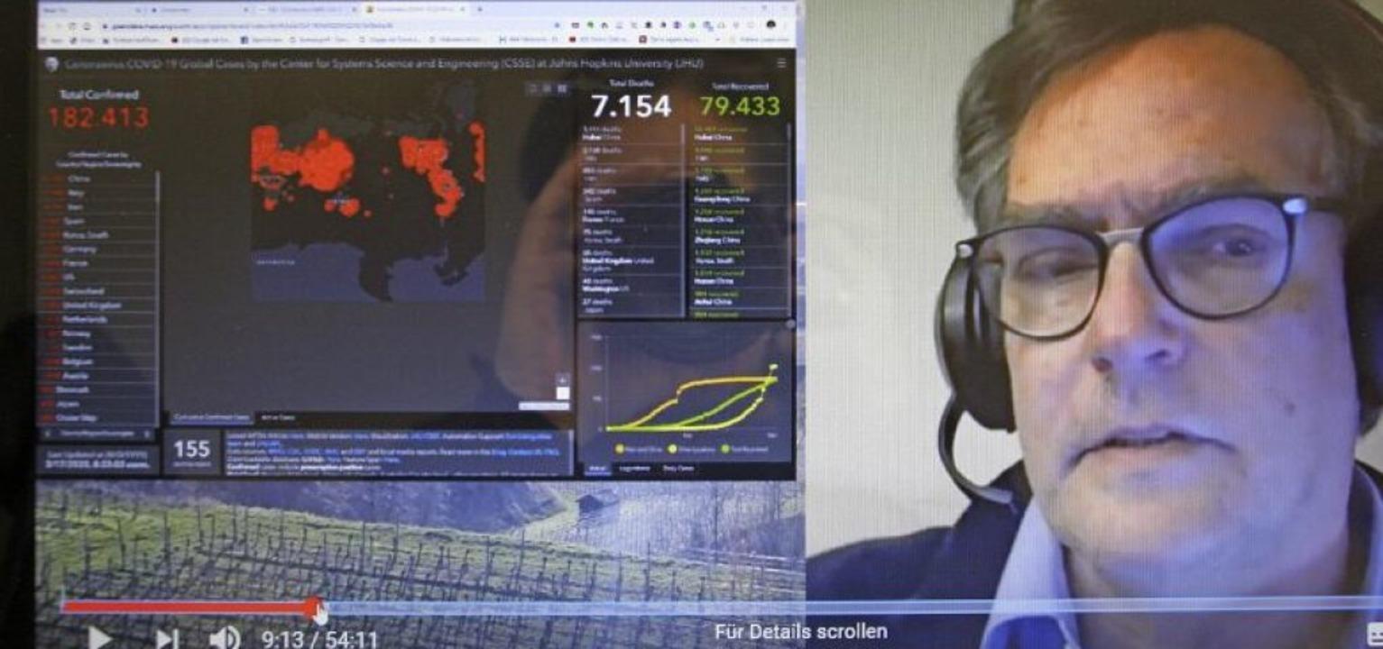 Der Emmendinger Bereitschaftsarzt Sven...oritz beim Unterrichten via Livestream  | Foto: Christiane Franz