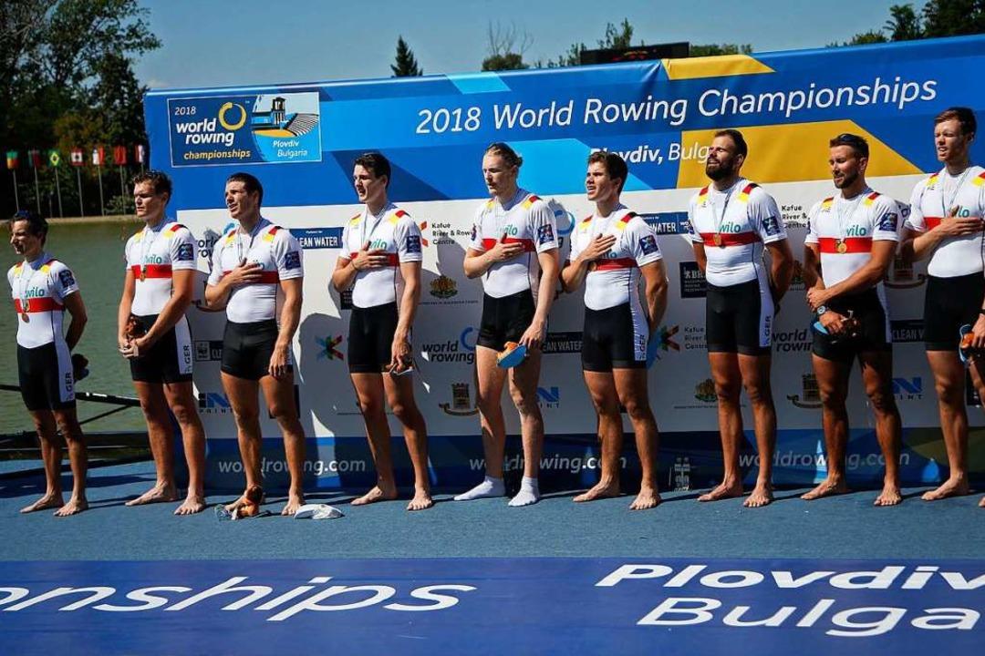 Weltmeister 2018 mit dem Deutschland-A...er Jakob Schneider (Fünfter von links)  | Foto: Darko Vojinovic