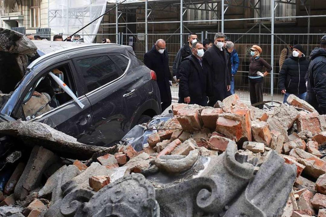 Schäden nach den Beben in Zagreb.  | Foto: DAMIR SENCAR (AFP)