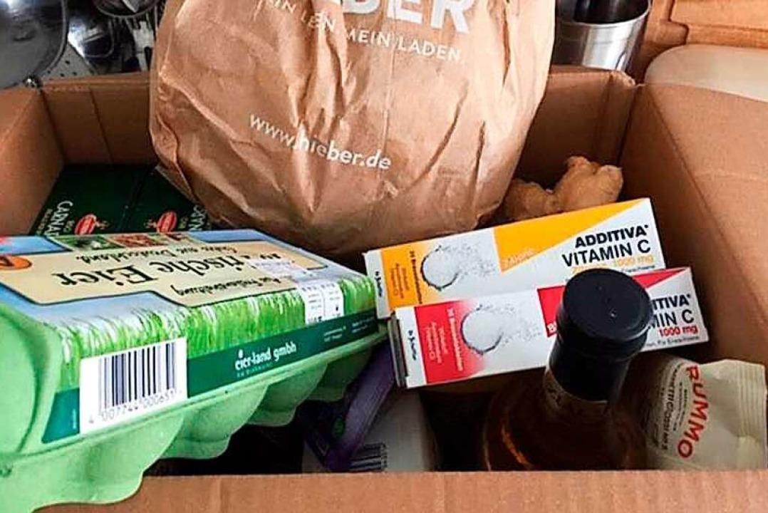 Dieser  Korb voller Lebensmittel stand  vor der Türe.    Foto: Gabi Smeets