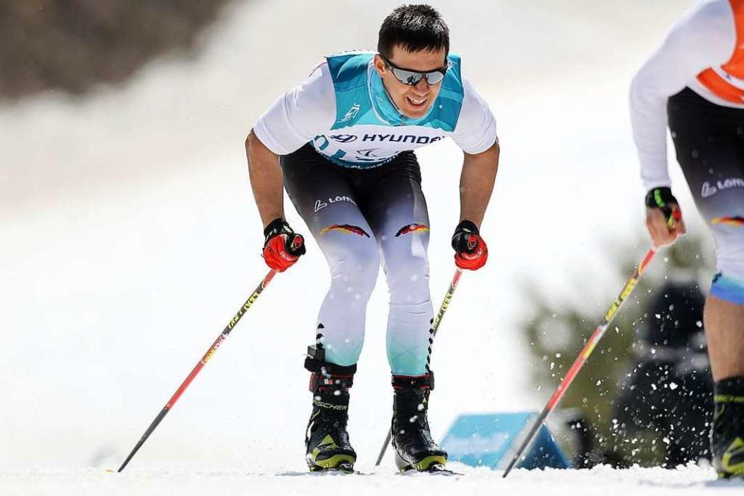 Vorweg skaten, damit sich der sehbehin...en Paralympics, hier im 1,5-km-Sprint.  | Foto: Jan Woitas