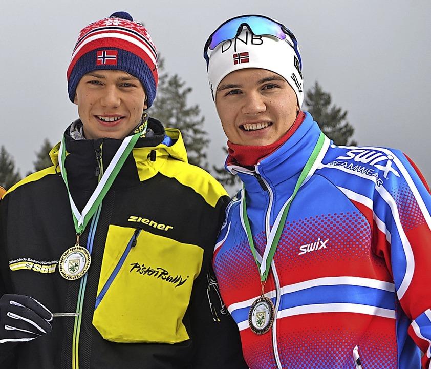 Matteo Lewe (links) und Leopold Hensle...Teamsprint den dritten Platz erkämpft.  | Foto: Junkel