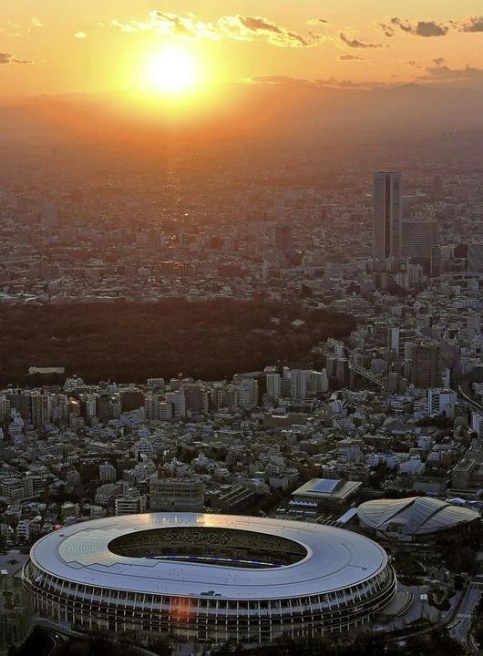 Im Nationalstadion von Tokio wird es  ...rbe um Gold, Silber und Bronze geben.     Foto: . (dpa)